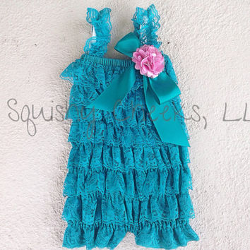 Teal Lace Romper with Flower Clip, YOU PICK the Flower Color, Ruffle Romper, Petti Romper, 5 Sizes: Newborn, Infant, Toddlers, Young Girls