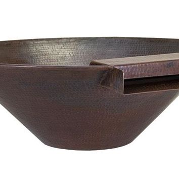 "Solana  31"" Round Water & Planter Bowl - Hammered Copper"