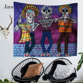 JaneYU Cross Border Bohemia New Abstract Colorful Skull Print Tapestry Wall Hanging Beach Towel Seat