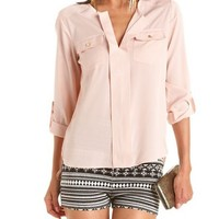 Roll-Cuff Hi-Low Utility Blouse: Charlotte Russe