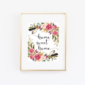 Home Sweet Home Print Wall Art Download, Boho Feathers Home Quote Decor, Floral Wreath Bedroom Decoration, Printable, Kitchen Sign, Bohemian