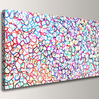 "Large Abstract Panoramic Wall Decor - Colorful Modern Canvas Print -  27x54 Giclee Print in Rainbow Colors,  ""Coalescence"""