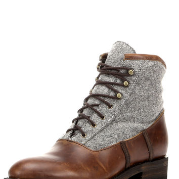 Men's Noah Boot - Pull Up Brown And Gray Wool