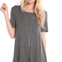 SHORT SLEEVE FULL SWING DRESS - GREY