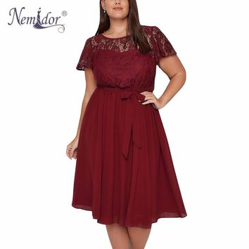 Nemidor Women Short Sleeve Vintage Floral Lace Top A-line Dress O-neck Plus Size Party Summer Chiffon Midi Cocktail Swing Dress