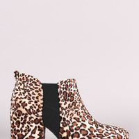 Qupid Leopard Almond Toe Elastic Gore Chunky Heeled Ankle Boots