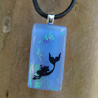 Mermaid Waters Fused Glass Pendant by fusedelegance on Etsy