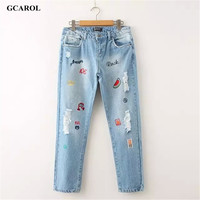 Women Letter Embroidery Denim Jeans Caal Ripped 42 Pants For 4