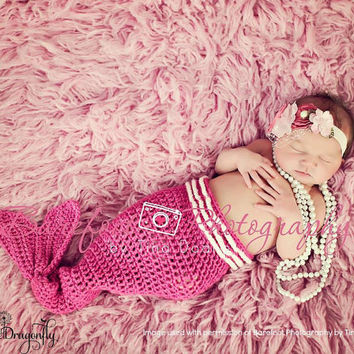Pink Crocheted Mermaid Tail, Photo Prop Baby Girl Costume, 0 to 3 Month Mermaid Tail Only
