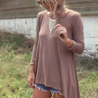 The Brentwood Mocha Scoop Neck Long Sleeve Asymmetrical Hem Top
