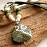 Rustic Jasper Pendant Necklace, Leather Cord Necklace, Olive Green Mustard Cream Beads Sterling Silver OOAK one of a kind