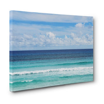 Playa Bonita - Gallery Wrap Canvas, Blue Ombre Style Surf Seascape Decor Tropical Ocean Water Wall Art Hanging. 8x10 11x14 16x20 20x24 24x36