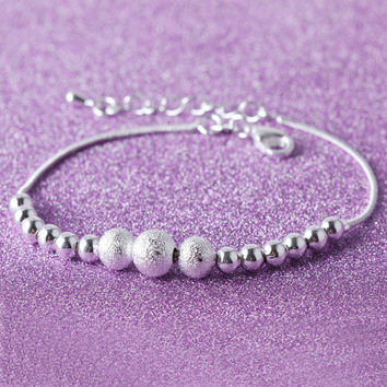 Hot Sale Awesome Gift Great Deal New Arrival Korean Accessory Stylish Matte Shiny Silver Bracelet [8171789575]