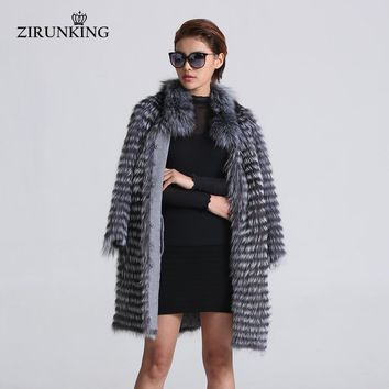 Women Real Silver Fox Fur Coats Fashion Fur Jacket Striped Overcoat Women Fox Fur Outerwear Clothes