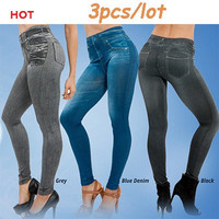 Hot Sale Genie Slim Jeggings 3pcs/lot Women's leggings Jeans Leggins Print Women Fashion Thick Pants with True Pocket Pluz Size