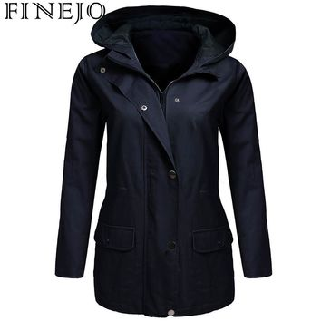 FINEJO Women Military Jacket with Pocket Spring Autumn Solid Drawstring Hooded Zip-Up Winter Zip Front Long Sleeve Coat