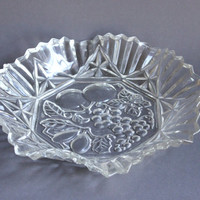Federal Glass 11 inch Crimped Ruffle Round Bowl Serving Plate Platter, Pioneer Embossed Fruit Pattern, Vintage Pressed Clear Glass Dish
