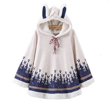 2017 Spring new Women Rabbit Print Cape Hood with Bunny ears Harajuku Cloak Fleece Fresh Navy blue Hoodies Young Girls Students