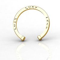 Lucky 14K Yellow Gold Horseshoe Ring with Black Diamonds