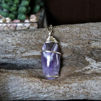 Chevron Amethyst Necklace, Bohemian Jewelry, Wire Wrapped Crystal Pendant, Pagan Festival Fashion, Boho Chic, Hippie Style, Wiccan, Chakra