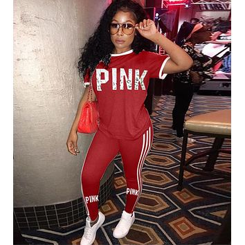 Victoria's Secret PINK Fashion Women Casual Short Sleeve Top Pants Trousers Set Two-Piece Sportswear Red