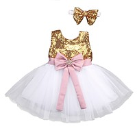 2Pcs/Set ! Princess Baby Girls Sequins Bow-knot Party Wedding Gown Formal Bridesmaid Ball Gown Dress