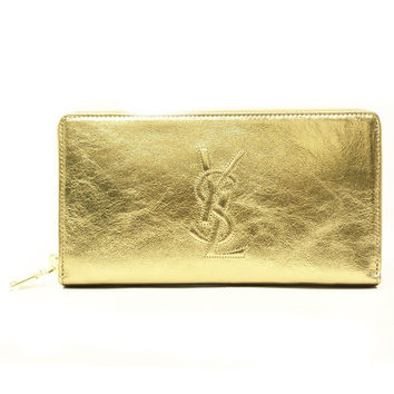 Saint Laurent 'YSL' Belle du Jour Metallic Leather Zip Around Wallet 352904