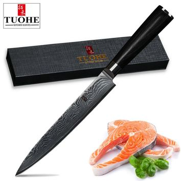 "TUOHE 8""inch slicing knife Damascus stainless steel cleaver knife professional kitchen chef's sashimi knife pakka wood handle"