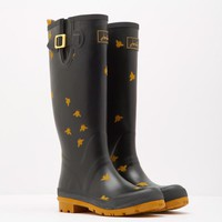 Black Bees Wellyprint Printed Rain Boots | Joules US