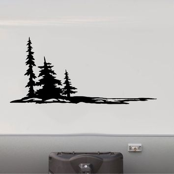 Forest Pine Trees and Mountains Decal RV Camper Motor Home Sticker Mountain Scene