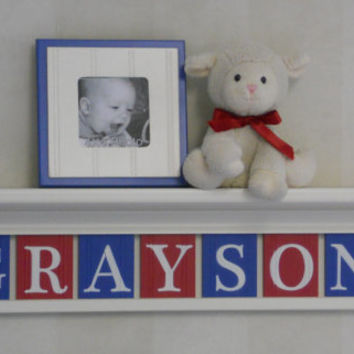 "Red and Navy Baby Nursery Room Decor  - Personalized Name - GRAYSON on 30"" Red Shelf - 7 Wood Wall Letters"