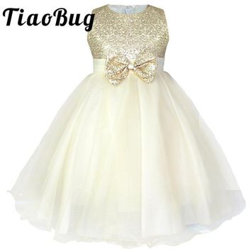 2-14 Knee-Length Sequin Girls dress Kids Pageant Party Wedding Bridesmaid Ball Gown Prom Princess Formal Occassion