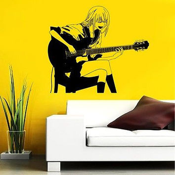 GUITAR ROCK BAND STAR GIRL MUSIC  ANIME WALL VINYL STICKER  DECALS MURAL D1636