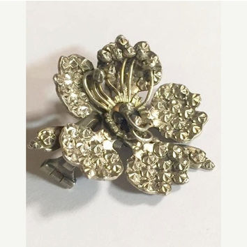 Antique 900 Coin Silver Flower Brooch