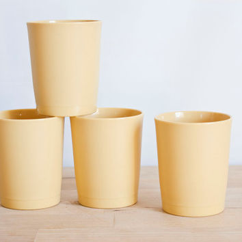 Tupperware Harvest Gold 6 oz Tumblers, 1970s Plastic Juice Cups, SET of 4