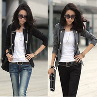 Women Lady Blazer Jacket One Button Slim Ladies OL Casual Suit Coat Outerwear TH