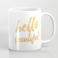 Hello Beautiful - Gold Typography Mug by Allyson Johnson | Society6
