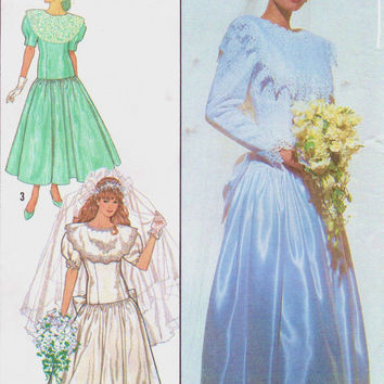 80s Gunne Sax Simplicity Sewing Pattern 9009 Womens Brides and Bridesmaid Dress Jessica McClintock Size 20 Bust 42 UnCut
