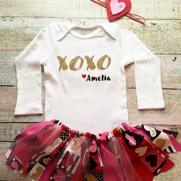Baby Valentine Outfit - Custom Valentine Onsie, Fabric Skirt, Headband, Girl Valentine Outfit, Baby Valentine Skirt, Holiday Outfit