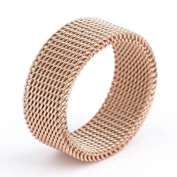 New Arriver Rose Golden Silvery Simple Titanium Steel Woven Mesh Finger Rings for Women Men Fashion Jewelry Wedding Friends Gift