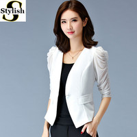 Women Blazer Stylish 2016 Summer Mesh Half Puff Sleeve Female White/Black Jacket Fittness Ladies Office Formal Clothing Big Size