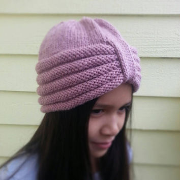 Hand Knit Honeycomb Turban Hat Beanie in Soft Rose / Pink Fits Adult and Children 10+