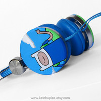 Adventure Time Headphones earphones blue hand painted - with Finn and Jake