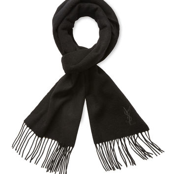 "Yves Saint Laurent Women's Cashmere Blend Fringe Scarf, 64"" x 11.5"" - Black"