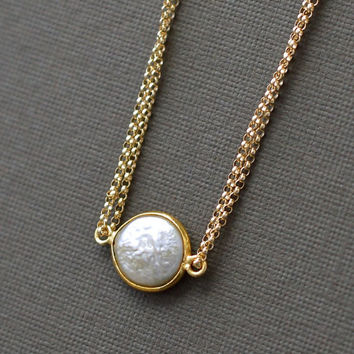 Bezel Pearl Necklace, Gold Fill Vermeil, Single Coin Pearl Necklace, Short Multi Strand, Blue Room Gems