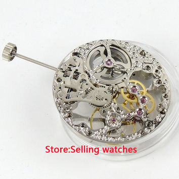 17 Jewels silver Full Skeleton 6497 Hand Winding movement fit parnis watch