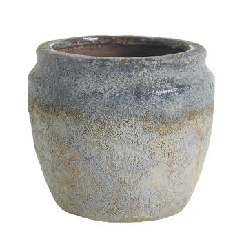 "Grey & Rust Earthy Ceramic Flower Pot Planter - 5.5"" Tall x 6"" Wide"