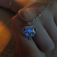 Blue glow legend of zelda necklace heart zelda heart necklace zelda heart piece necklace pendant zelda heart pendant