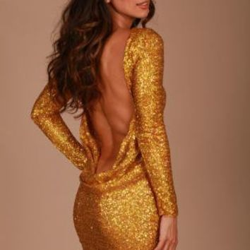 Red or gold  sequin classic backless dress