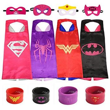 Superheros Cape and Mask Costumes Set Matching Wristbands For Kids (4 Pack)